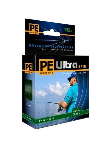 Плетеный шнур Aqua PE ULTRA SPIN темно-зеленый